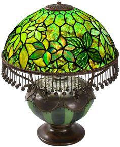 And bronze table lamp tiffany studios the shade with iridescent green - Tiffany Studios Woodbine Lamp