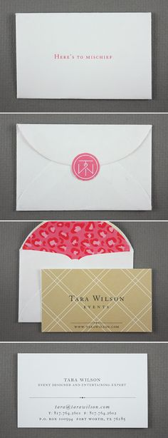 Tara Wilson Events  www.tarawilson.com {The tagline really makes you want to open the envelope}
