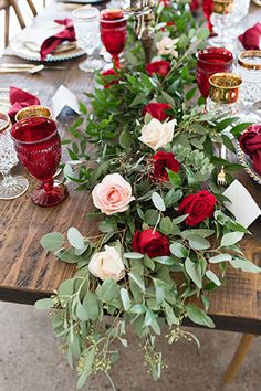 A gorgeous and romantic Beauty and the Beast wedding inspiration shoot with an enchanting tablescape and a fabulous palette of rich reds, deep blues and gold, by Barbara Covington Photography and Like the Dazzling Weddings. Red Wedding, Wedding Table, Wedding Blog, Wedding Flowers, Wedding Stuff, Beauty And The Beast Theme, Beauty And Beast Wedding, Wedding Centerpieces, Wedding Decorations