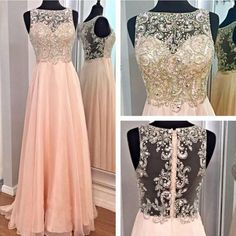DIYouth.com Long Pink Prom Dresses With Beaded Bodice And Sheer Back, lace evening dress, beading prom dresses, backless prom dresses, open back party dresses,pink cocktail dress,