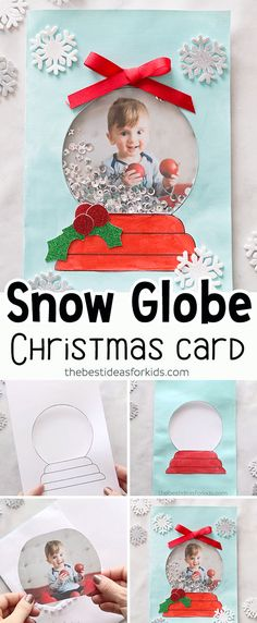 DIY Snow Globe Christmas Card - This handmade Christmas card idea for kids is so . DIY Snow Globe Christmas Card - This handmade Christmas card idea for kids is so cute and fun! Great for kids to give to parents or grandparents as a . Diy Christmas Cards, Christmas Crafts For Kids, Christmas Activities, Holiday Crafts, Christmas Decorations Diy Crafts, Kindergarten Christmas Crafts, Diy Baby 1st Christmas Ornament, Christmas Cards For Children, Christmas Card Ideas With Kids