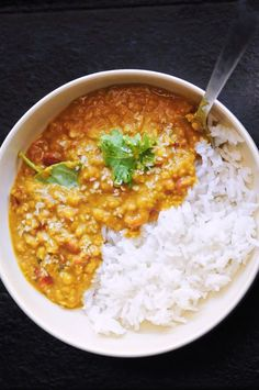 Spicy Coconut Red Lentil Dal (Gluten-Free, Vegan) — MOON and spoon and yum Red Lentil Dahl Recipe, Lentil Salad Recipes, Curry Recipes, Vegan Recipes, Cooking Recipes, Red Lentil Soup, Vegetarian Recipes Red Lentils, Lentil Dishes, Rice