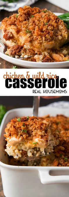 Chicken & Wild Rice Casserole is the ultimate comfort food! The best part is that you can make it ahead of time and even freeze it! via @realhousemoms