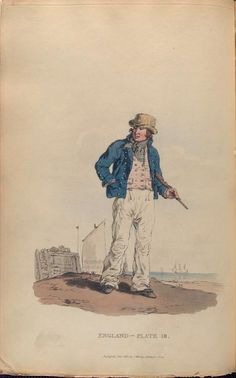 Ralph alternative - white vest instead of red OR Deadeye (rumpled) - Deadeye in red vest and Ralph in white instead? Sailor: illustration from Picturesque Representations of the Dress and Manners of the English by William Alexander, London, 1814 Royal Navy Officer, Royal Marines, Hms Pinafore, Marine Francaise, Navy Uniforms, Man Of War, Regency Era, Army & Navy, Drawing Practice