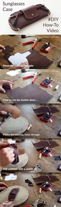 Leather Sunglasses Case –How to make a leather glasses case. Hand Stitched Leather Case. Handcrafted Sleeve. Pattern Download DIY Leather Sunglasses Case.