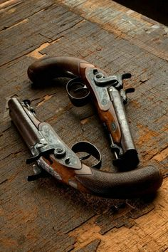 Pair of Westley Richards 30 bore Double Barrelled Holster Pistols Black Powder Guns, Flintlock Pistol, Into The West, Black Sails, Pirate Life, Cool Guns, Guns And Ammo, Pirates Of The Caribbean, Sea Pirates