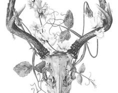 Deer skull and flowers  Temporary tattoos by WildLifeDream on Etsy