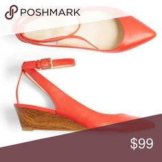 """💟 POINTED TOE WEDGE - CORAL (RARE) 🔹Padded sole for comfort🔹Leather upper 🔹1 3/4"""" wedge heel🔹adjustable ankle strap🔹PRICE IS FIRM Nine West Shoes Wedges"""