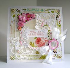 Same layout for a Birthday card this time - #Joy Crafts #Spellbinders #Websters Pages - flowers from #WildOrchidCrafts