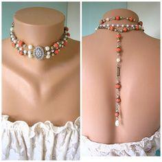 Backdrop Necklace Wedding Jewelry Bridal by CrystalPearlJewelry, $76.00