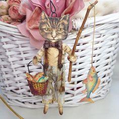 Spun Cotton Fishing Cat Ornament by ArbutusHunter