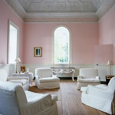 IDEA for your dining.peachy pink right? Blush walls via Pale pink satin benjamin moore on Domaine Home - saved by Chic n Cheap Living Style At Home, Style Blog, Pastel Paint Colors, Wall Colors, Peach Paint, Gold Bedroom, Master Bedroom, Paint Colors For Living Room, Pink Walls