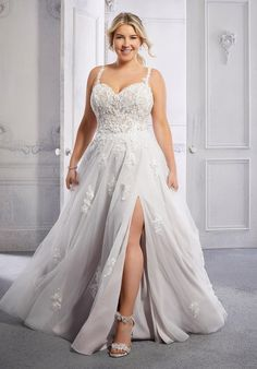 This soft tulle A-line wedding dress has a sweetheart neckline with straps, an open back, and front skirt slit. Plus Size Bridal Dresses, Plus Size Wedding Gowns, Bridal Wedding Dresses, Vestidos Plus Size, Mori Lee, Types Of Dresses, Dress Silhouette, Ball Gowns, Fashion Outfits