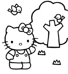 Hello Kitty playing the music coloring page  Coloring page  GIRL