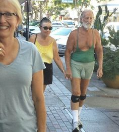 Muscle Shirt and Shorts with a Man Thing Pouch - Old Guy Mint Green Fashion Fail ---- best hilarious jokes funny pictures walmart humor fail