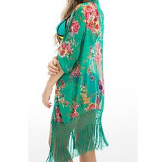 Floral Beach Cover Up Bikini Bathing Suit Cover Ups BeachWear Tassel Trim Swimsuit Coverup Dress