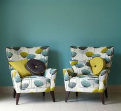 These chairs are great! I love the style, the fabric, the pillows! yum. Sanderson Dandelion Clocks Fabric