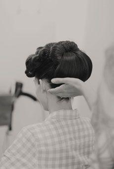 Wedding Hairstyle Idea: Retro Updo   Brides.com  Photo: Amy Carroll