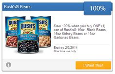 FREE Can of Bush's Black, Kidney or Garbanzo Beans With eCoupon TODAY ONLY! - http://couponingforfreebies.com/free-can-of-bushs-black-kidney-or-garbanzo-beans-with-ecoupon-today-only/