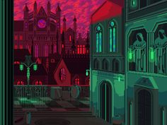 I love this shocking, almost vibrating palette, and the cyberpunk style feels like something straight out of a retro video game. City Illustration, Digital Illustration, Gothic Setting, 8 Bit Art, Demon Art, Gotham City, Community Art, Online Art Gallery, Game Design