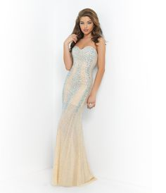 Please allow a 4 day handling time for this dress.  <BR> Stunning strapless sweetheart gown defined by dazzling lines of AB and silver stones. Lining stops at mid thigh leaving a sheer floor length skirt. Back zipper closure.