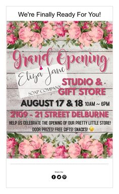 We're Finally Ready For You! Eliza Jane, Door Prizes, Soap Maker, Soap Company, Gift Store, Pretty Little, Free Gifts, Art, Craft Art