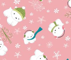 Heather Rosas - Winter Wonderland - Polar Bears in Pink Cotton Quilting Fabric, Cotton Quilts, Fabric Canada, Friendly Fox, Baby Polar Bears, Christmas Fabric, Christmas Things, Fabric Animals, Cute Backgrounds