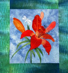 Daylily, ©2006 by Lois Frampton.  This quilt is adapted from a pattern by Marjan Kluepfel.  Hand-dyed Shibori border.
