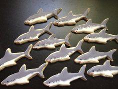 Shark Cookies on Etsy, $30.00