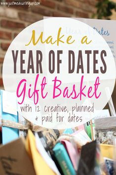 DIY Wedding Gift Idea for Bride and Grooms - Make a Year of Dates wedding gift basket with planned and paid for dates!! Free printables!