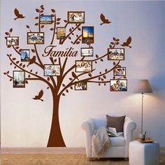 Family Tree Wall Decor, Family Tree Picture Frames, Family Tree With Pictures, Diy Wall Decor, Room Decor, Blank Family Tree Template, Home Garden Design, Decoration, Wall Drawing