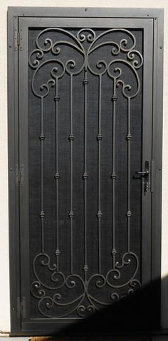 Security Screen Doors : Great Gates and Whiting Iron in Phoenix AZ Door Grill, Grill Door Design, Window Grill, Gate Design, Steel Security Doors, Security Gates, Wood Furniture Legs, Wrought Iron Doors, Iron Steel