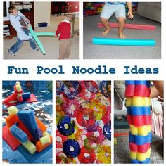 Save those pool noodles! Ideas for pool noodles activities and art, as well as sculptures Knight these would work in the block center. Gross Motor Activities, Activities To Do, Summer Activities, Sensory Games, Classroom Activities, Pool Noodle Crafts, Pool Noodles, Cool Pools, Outdoor Fun