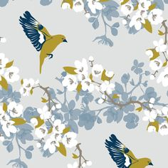 Bird wallpaper perfect for living room interiors and an outdoor theme - Greenfinch and Apple Blossom - Lorna Syson