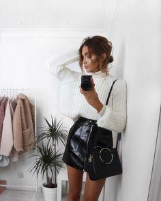 white sweater, leather patent mini