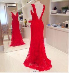 2014 Floor Length Gown vestidos de fiesta Red Lace Long Prom Dress 2014 Mermaid V Neck vestidos de formatura longo Festa(SF P92)-in Prom Dre...