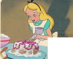 Alice in Wonderland Original Painting - Walt Disney. Birthday Cake. Published in Disneyland Magazine, Page 16. Original Art. Disney Storybook Illustration. This artwork is custom matted and ready to frame. Alice in Wonderland. Original watercolor painting depicting Alice in Wonderland decorating a birthday cake. Matted. Genre: animation. Width: 50, height: 1025 hundredths-inches.