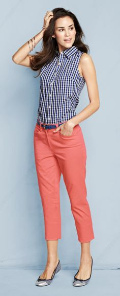 Gingham, stripes & peach crops   Fresh spring outfit by Lands' End