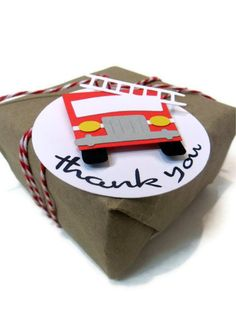 Fire Truck Favor Tags - Set of 6. $8.00, via Etsy.