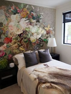 Small Bedroom Design Featuring A Dramatic Still Life Of Flowers Wall Mural  Accent Wall Behind The