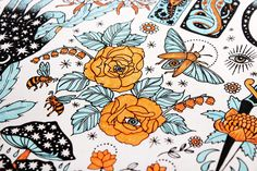 PONY GOLD / ILLUSTRATION / ROSES // BLUE AND ORANGE  ....art, but could also be a great tattoo for me personally.