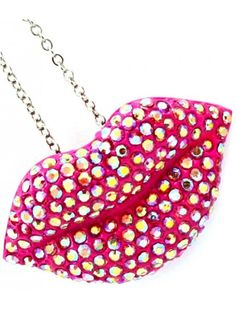 PINK CRYSTAL LIPS LADIES FASHION NECKLACE - Fashion Necklaces - Necklaces - Jewellery