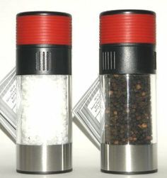 Olde Thompson Tower Red 3027-23 Pepper Peppermill & Tower Red 3827-23 Salt Mill - 2 Pc Set by Olde Thompson. $44.95. Modern Red, Black & Silver Design. Easy to Grind, Easy to Fill, Easy to Adjust Grind. Fully adjustable from a coarse to fine grind. Stainless Steel bottom ring & red Soft Grip top - for Easy Use. Ceramic Salt Grinder & Carbon Steel Pepper Grinder. This modern pepper and salt mill set has a durable stainless steel bottom ring, an easy view acrylic cen...