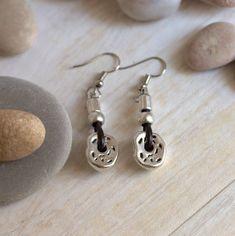 46c418f3e228 Long silver earrings for women Leather charm earrings Urban