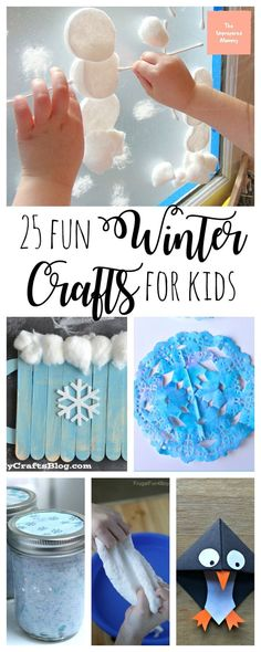 These 25 fun winter crafts are great for toddlers, preschoolers, and any kid with an imagination! #wintercrafts #Snowflake #slimerecipe