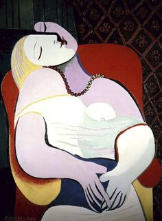 Pablo Picasso (Spanish, La Rêve (The Dream), Oil on canvas, 130 x 97 cm x inches. © Estate of Pablo Picasso / Artists Rights Society (ARS), New… Kunst Picasso, Art Picasso, Picasso Paintings, Picasso Portraits, Picasso Style, Famous Portraits, Picasso The Dream, Most Expensive Painting, Cubist Movement