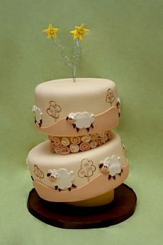 Baby Sheep Baby Shower Cake ~ adorable!