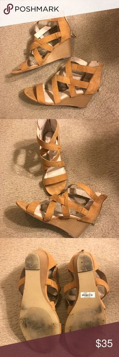 Torrid suede strappy wedges, 11w Worn once. Torrid size 11w cognac/Brown strappy wedges. Very comfortable. Broke my ankle so no heels for me. Come from a smoke free home and ship fast. Always come with a free gift. torrid Shoes Wedges