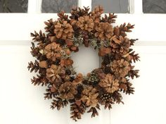 Fall Wreath for Front Door 14 Pinecone and Lichen Wreaths For Front Door, Door Wreaths, Northern White Cedar, White Spruce, Fern Frond, Thing 1, Pine Cone Crafts, Frame Wreath, Pine Cones