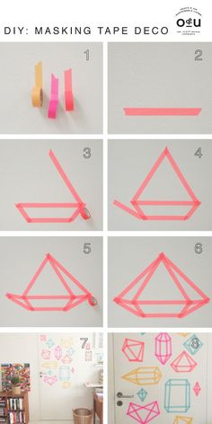 The best DIY projects & DIY ideas and tutorials: sewing, paper craft, DIY. Diy Crafts Ideas A fun little washi tape decor project. Deco Tape, Mur Diy, Washi Tape Wall, Washi Tapes, Washi Tape Headboard, Tape Wall Art, Dorm Hacks, Cool Dorm Rooms, Kids Rooms